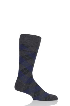 Mens 1 Pair BOSS Argyle Stripe Combed Cotton Socks
