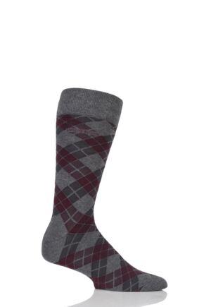 Mens 1 Pair Hugo Boss Argyle Stripe Combed Cotton Socks Medium Grey 43-46