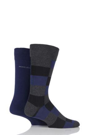 Mens 2 Pair Hugo Boss Plain and Check 75% Cotton Socks Charcoal 39-42