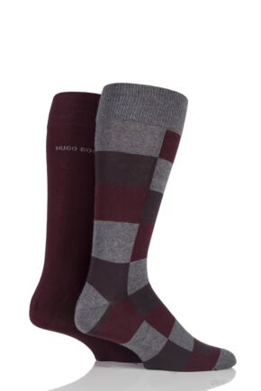 Mens 2 Pair BOSS Plain and Check 75% Cotton Socks