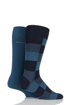 Mens 2 Pair Hugo Boss Plain and Check 75% Cotton Socks