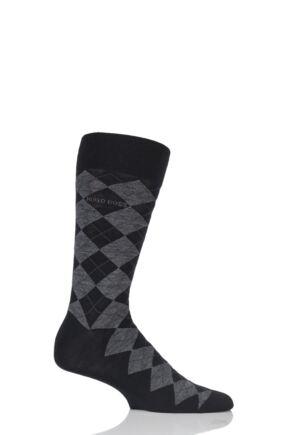 Mens 1 Pair Hugo Boss John Argyle Design Wool Cotton Socks Black 43-44