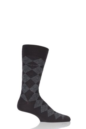 Mens 1 Pair BOSS John Argyle Design Wool Cotton Socks Dark Brown 43-44