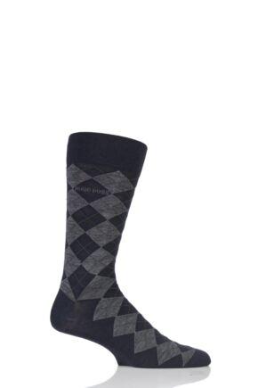 Mens 1 Pair Hugo Boss John Argyle Design Wool Cotton Socks Dark Blue 43-44