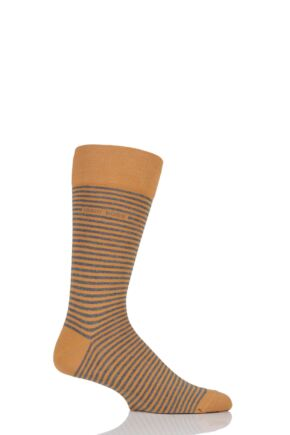 Mens 1 Pair Hugo Boss Marc Striped Combed Cotton Socks Dark Yellow 9-11