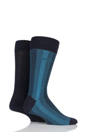 Mens 2 Pair BOSS Plain and Vertical Stripe Wool and Cotton Socks