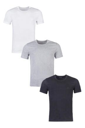 Mens 3 Pack BOSS Plain Cotton Stretch Round Neck T-Shirts
