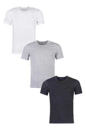 Mens 3 Pack BOSS Plain Cotton Stretch Round Neck T-Shirts