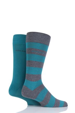 Mens 2 Pair Hugo Boss RS Design Plain and Stripe Combed Cotton Socks
