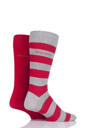 Mens 2 Pair Hugo Boss RS Design Plain and Stripe Combed Cotton Socks Grey/Red 43-46