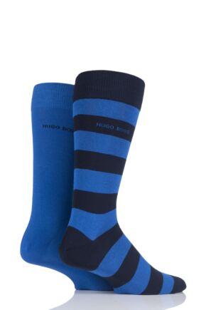 Mens 2 Pair Hugo Boss RS Design Plain and Stripe Combed Cotton Socks