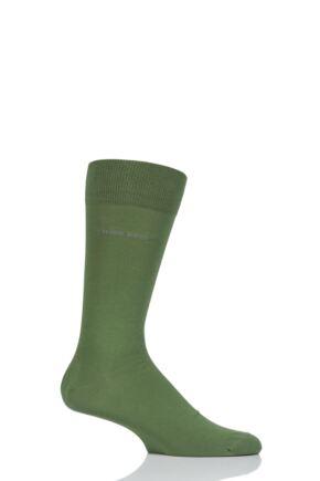 Mens 1 Pair Hugo Boss Marc Plain 98% Combed Cotton Socks Green 43-46
