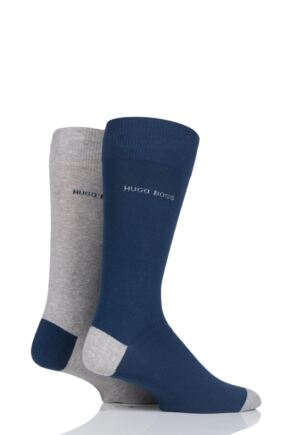 Mens 2 Pair BOSS Combed Cotton Contrast Heel and Toe Socks