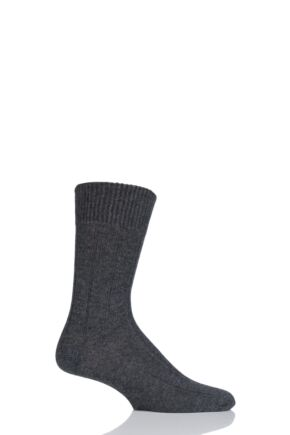 Mens 1 Pair SockShop of London 100% Cashmere Ribbed Socks Badger 8-10