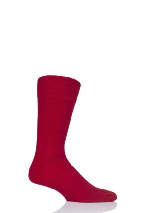 Mens 1 Pair SockShop of London 100% Cashmere Ribbed Socks Chianti 8-10