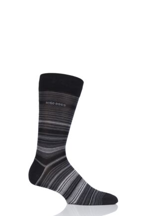Mens 1 Pair BOSS Mercerized Cotton Multistripe Socks