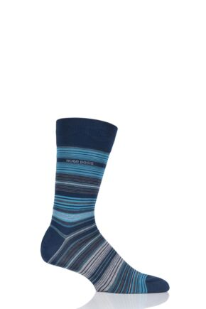 Mens 1 Pair BOSS Mercerized Cotton Multistripe Socks