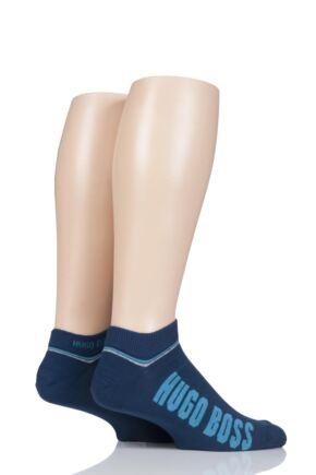 Mens 2 Pair BOSS Combed Cotton Plain and Branded Sneaker Socks