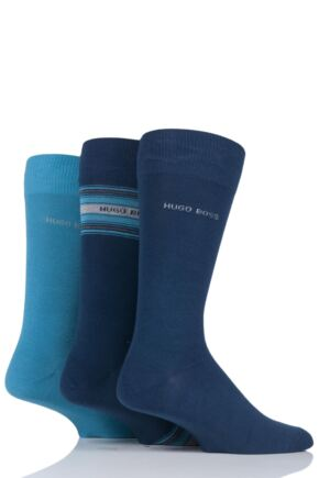 Mens 3 Pair Hugo Boss Combed Cotton Socks In Gift Box