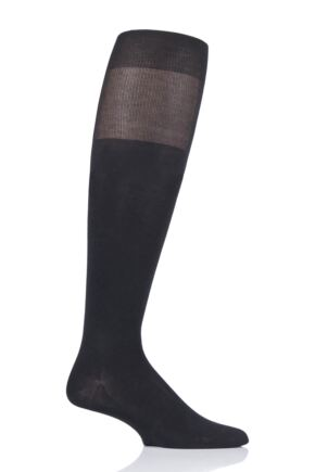 Mens 1 Pair BOSS George Plain 98% Mercerized Cotton Plain Knee High Socks