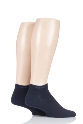 Mens 2 Pair BOSS Plain Cotton Sneaker Socks