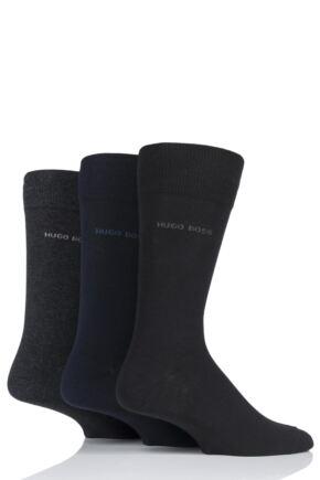 Mens 3 Pair BOSS Plain Combed Cotton Socks