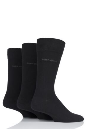 Mens 3 Pair BOSS Plain Combed Cotton Socks Black 8.5-11 Mens