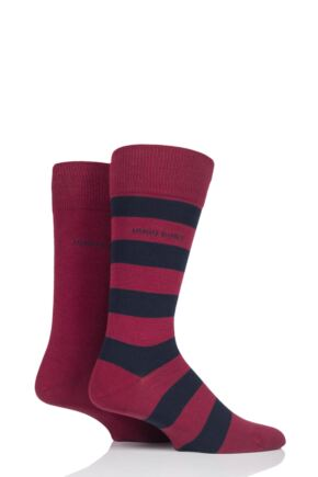 Mens 2 Pair BOSS Block Striped and Plain Combed Cotton Socks