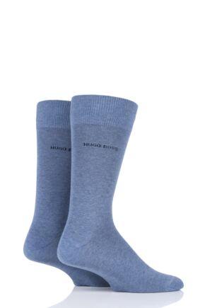 Mens 2 Pair BOSS Plain 75% Cotton Socks