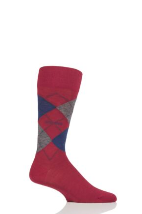 Mens 1 Pair BOSS John Argyle Design Wool Cotton Socks Red 10-11 Mens