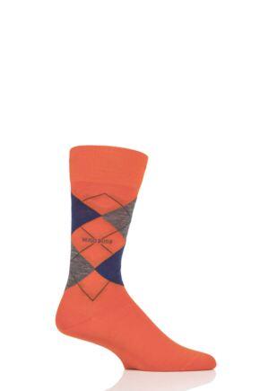 Mens 1 Pair BOSS John Argyle Design Wool Cotton Socks Orange 7-8 Mens