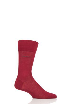 Mens 1 Pair BOSS George 100% Mercerised Cotton Plain Socks Red 10-11