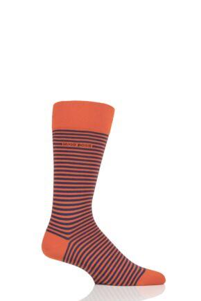Mens 1 Pair BOSS Marc Striped Combed Cotton Socks Orange 5.5-8 Mens
