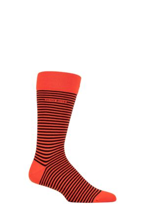Mens 1 Pair BOSS Marc Striped Combed Cotton Socks Bright Orange 8.5-11 Mens