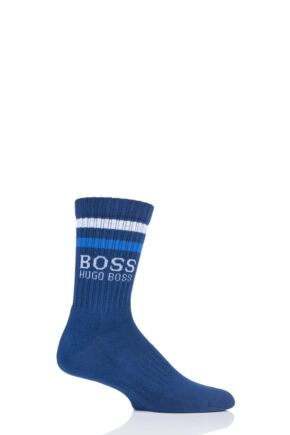 Mens 1 Pair Hugo Boss Combed Cotton Ribbed Sports Socks