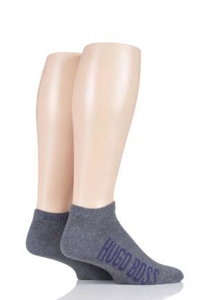 Mens 2 Pair BOSS Logo Combed Cotton Trainer Socks