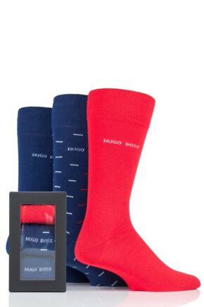 Mens 3 Pair Hugo Boss RS Combed Cotton Gift Boxed Socks
