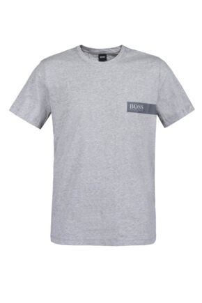 Mens 1 Pack BOSS Round Neck Boss Chest Logo T-Shirt