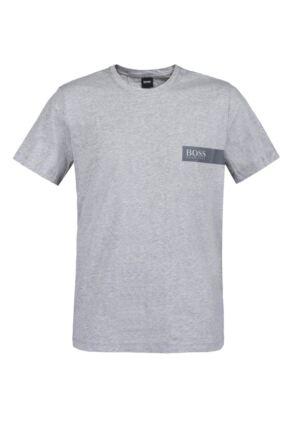Mens 1 Pack BOSS Round Neck Boss Chest Logo T-Shirt Grey Large