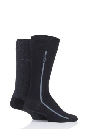 Mens 2 Pair BOSS Logo Stripe Combed Cotton Socks