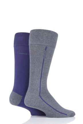 Mens 2 Pair BOSS Logo Stripe Combed Cotton Socks Dark Purple 5.5-8 Mens
