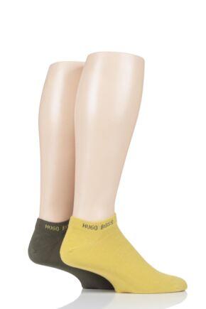 Mens 2 Pair Hugo Boss Plain Cotton Trainer Socks