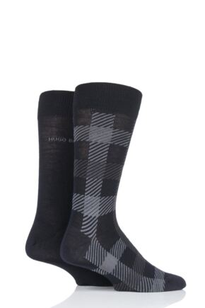 Mens 2 Pair BOSS Plain and Check Wool Socks