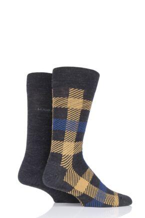 Mens 2 Pair BOSS Plain and Check Wool Socks