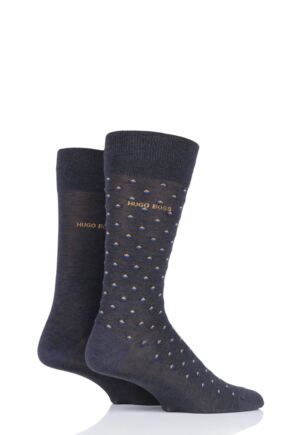 Mens 2 Pair BOSS Diamond and Plain Mercerized Cotton Socks