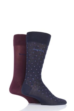 Mens 2 Pair BOSS Diamond and Plain Mercerized Cotton Socks