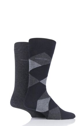 Mens 2 Pair BOSS Plain and Diamond Combed Cotton Socks