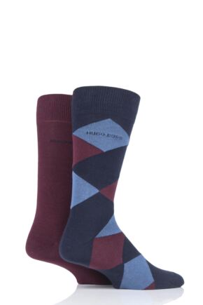 Mens 2 Pair BOSS Plain and Diamond Combed Cotton Socks