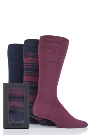Mens 3 Pair BOSS Gift Boxed Plain and Striped Combed Cotton Socks