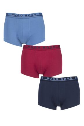 Mens 3 Pack BOSS Plain Cotton Stretch Trunks
